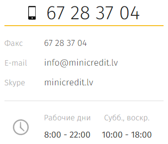 Контакты Minicredit